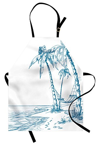 Beach Apron (Beach Apron by Ambesonne, Modern Illustration of a Tropical Beach with Palm Trees and Hammock Hawaiian Relax, Unisex Kitchen Bib Apron with Adjustable Neck for Cooking Baking Gardening, Blue White)