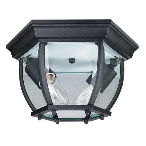 2 Light Beveled Glass (Sunset Lighting F7898-31 Two Light Outdoor Flush Mount, Black Finish with Clear Beveled Glass)