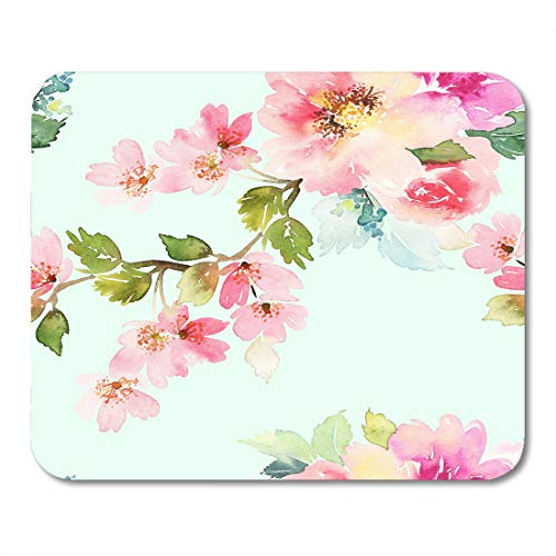 Nakamela Mouse Pads Innocence Pink Pastel with Flowers Watercolor Gentle Colors Female Pattern White Delicate Bouquet Mouse mats 9.5