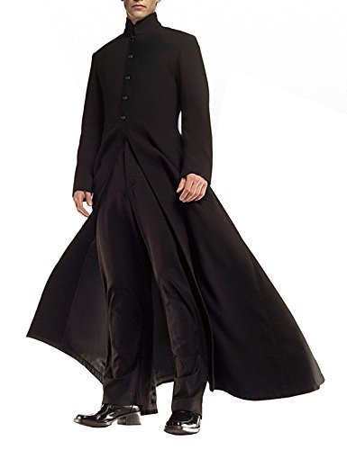 UGFashions Matrix Neo Keanu Reeves Black Costume Gothic Steampunk Cotton Trench Coat