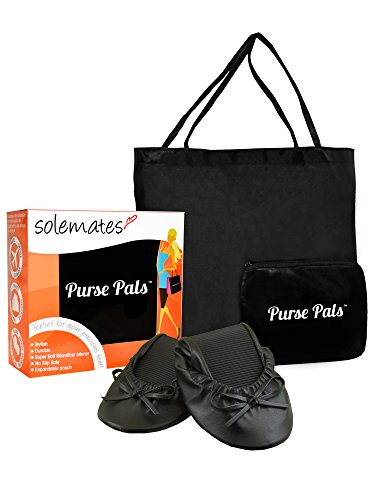 Solemates Purse Pal Foldable Bowed Ballet Flats w/Expandable Tote Bag for Carrying Heels (Large (9-10.5), Black)