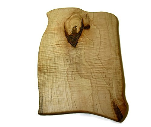 Large Tiger Maple Wood Cutting Board with Knot and Bark