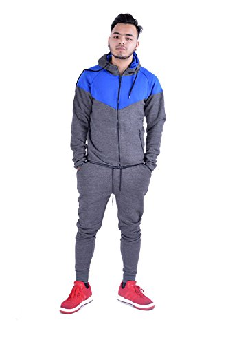 Mens Full Zip Up Contrast Cord Brushed Fleece Tracksuit Hoodie Jogging Joggers Gym Suit by My Mix Trendz