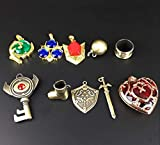 The Legend of Zelda Twilight Princess & Hylian Shield & Master Sword finest collection sets keychain / necklace / jewelry series (Red-10set): more info