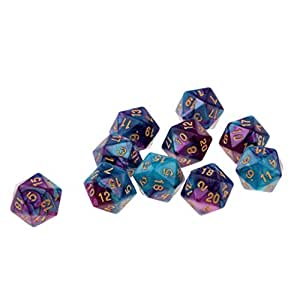 HOMYL 10PCS Polyhedral Dice Set Multi-Sided Dice D20 for Dungeons & Dragons Game, Numbers 1-20, Doubles Colors Blue + Purple