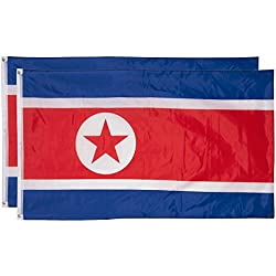 Juvale North Korea Flags - Pack of 2 North Korean Flags - 3 x 5 Foot Flags with Grommets
