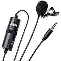 Boya BYM1 Omnidirectional Lavalier Condenser Microphone with 20ft Audio Cable (Black)