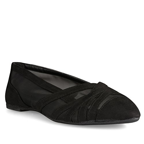 Cut Out Ballet Flat (Twisted Womens LINDSAY Faux Suede Almond Toe Mesh Cutout Ballet Flats - LINDSAY626 BLACK, Size 9)