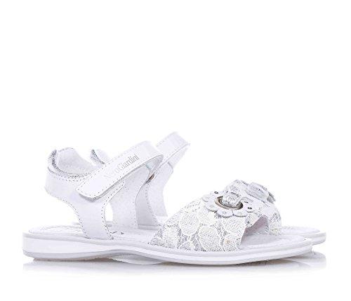 bande GIARDINI fermeture logo blanche avec la NERO fille Sandale en cuir et sur antérieure filles velcro la sur dentelle fleur décorative T7xzdqxw