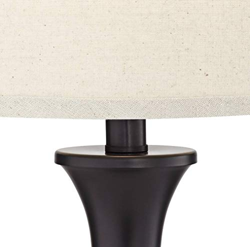 Traditional Table Lamps Set of 2 with Hotel Style USB Charging Port LED Bronze Oatmeal Shade Touch On Off for Living Room Bedroom - Regency Hill by Regency Hill (Image #1)