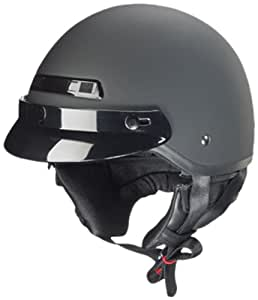 Zox Banos STG Motorcycle Half Helmet (Matte Black, Medium)