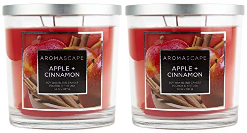 Aromascape 3-Wick Scented Jar Candle, Apple & Cinnamon (2-Pack)
