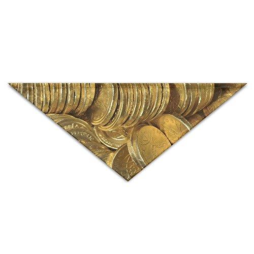 HFXFM Gold Chocolate Coins.JPG Neck Scarf Tie Slobber Pet Collar Adjustable Trriangula Bandana Breed Soft