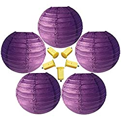 Neo LOONS 5 Pack 6 Inch Purple Round Chinese/Japanese Paper Lanterns Metal Framed Hanging Lanterns with LED Lights --- For Home Decor, Parties, Weddings and DIY