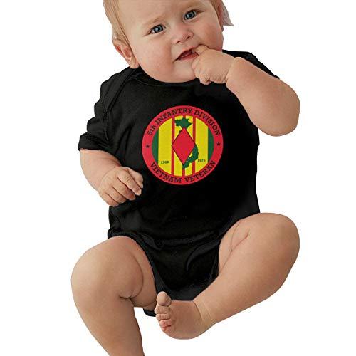 - Unisex Baby 5th Infantry Division Vietnam Jumpsuit Cotton Romper Short Sleeve Bodysuit One-Piece Suit Black