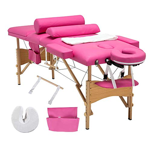 """Folding Massage Table 84"""" Professional Portable 3 Fold Facial Massage Bed Salon SPA with Sheet, Cradle Cover, 2 Bolster with Backrest with Carry Case Pink"""