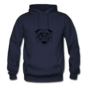 Women Pug Designed O-neck Cotton Navy Hoody X-large