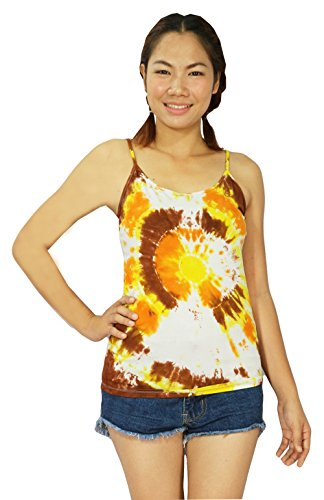 Design By Jingle Women Summer Casual Tie Dye Tie Dye Spaghetti Strap Tank Top Shirt (TT-Yellow) (Animal Morph Suits)