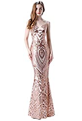 Women's Spaghetti V-Neck Sequins Floor-Length Dress