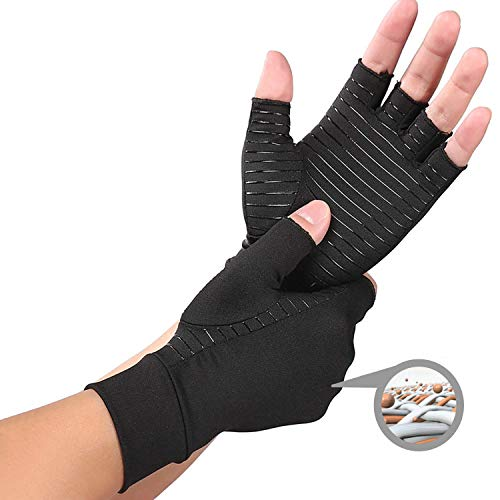 DISCOVERY Copper Compression Arthritis Gloves Content Alleviate Rheumatoid Pains Ease Muscle Tension Relieve Carpal Tunnel Aches for All Lifestyles(1 Pair) (L)