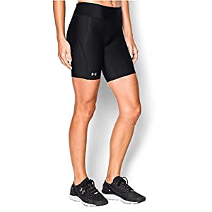 Under Armour Women's HeatGear Authentic Long Shorts, Black/Silver, Small