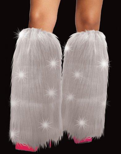 Flashing Panda LED Light Up Faux Fur Costume Leg Warmers - White Furry (Sexy Panda Costume)