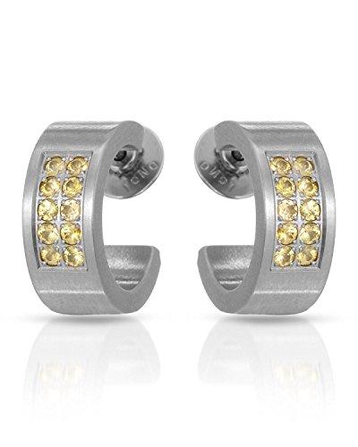 (Teno Stainless Steel Sapphire Hoop Earrings For Women. Length 15 mm. )