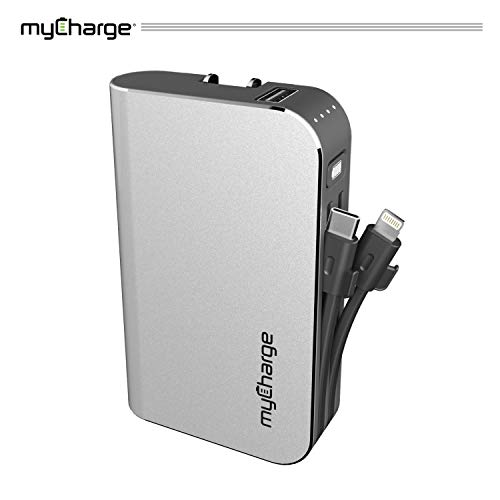 myCharge Portable Charger Power Bank - HubPlus 6700 mAh Universal External Battery Pack | Foldable AC Wall Plug | Two Built in Cables for Apple (iPhone Lightning) & for Samsung USB Type C (Android)