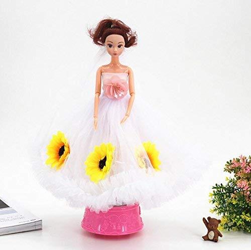 FORTR Home Mädchen Spielzeug Hochzeit Kleid Puppe Braut Rotierende Spieluhr für Hochzeitsdekoration Interessantes Spielzeug