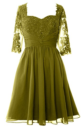 MACloth Women Half Sleeves Mother of Bride Dress Midi Cocktail Party Formal Gown Verde Oliva