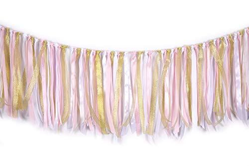 Fabric Lace Tassel Garland ribbon garlands Garland already assembled ribbon Wall Hanging Decor Nursery Photo Props For Wedding Event Birthday Anniversary Baby shower Party Supplies Pink & White & ()