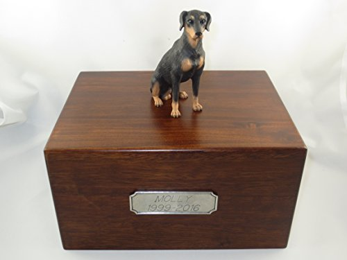 Beautiful Paulownia Large Wooden Urn with Uncropped Black Doberman Pincher Figurine & Personalized Pewter Engraving ()