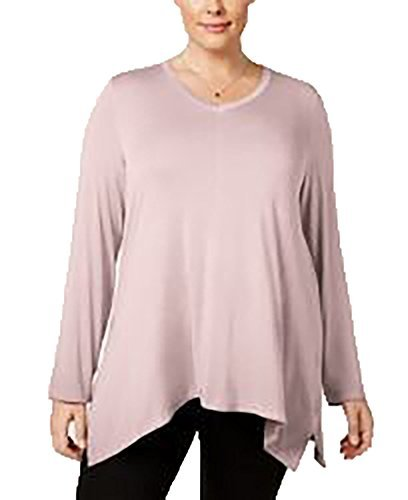 (Style & Co. Womens Plus Bridge Hem Long Sleeves Tunic Top Pink)