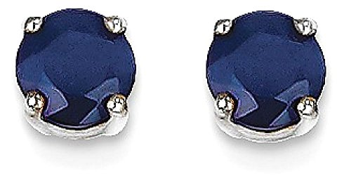 IceCarats 14k White Gold Sapphire Post Stud Ball Button Earrings Gemstone