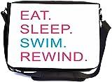 Rikki Knight Eat Sleep Swim Rewind Pink & Blue Design Multifunctional Messenger Bag - School Bag - Laptop Bag - with Padded Insert for School or Work - Includes Matching Compact Mirror