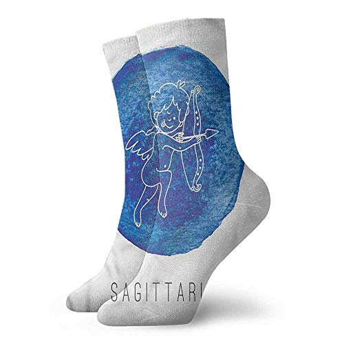 (Men Multicolored Pattern Zodiac Sagittarius Doodle Archer Unisex Men's & Womens Socks)
