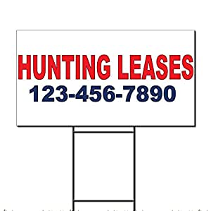 Hunting Leases Phone Custom Red Blue Custom Plastic Yard Sign /Free Stakes 18 x 24 inches Two Sides Color