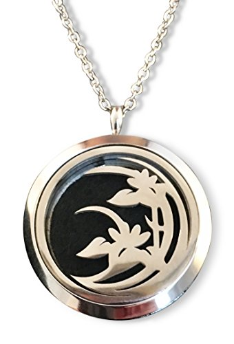 Design Silver Locket - Aromatherapy Diffuser Necklace Locket with Orange Essential Oil Included, Gorgeous Modern Lily Design. Shiny Silver Stainless Steel Beautifully Boxed with a Silver Ribbon - Great Gift!