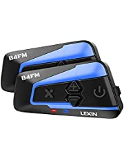 LEXIN 2pcs B4FM 10 Riders V5.0 Motorcycle Bluetooth Headset with Music Sharing, Waterproof Motorcycle Helmet Bluetooth Intercom with Noise Cancellation and FM Radio, Universal Communication Systems with Type-C Fast Charging for ATV/Dirt Bike/Off Road