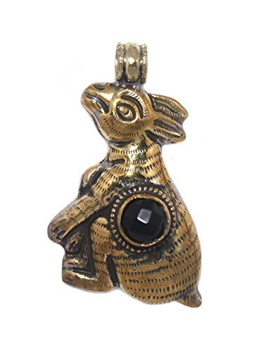Tibetan Brass Onyx - Large Rabbit brass Pendant Onyx Pendant Nepal pendant Tibetan Pendant Boho pendant Tribal pendant