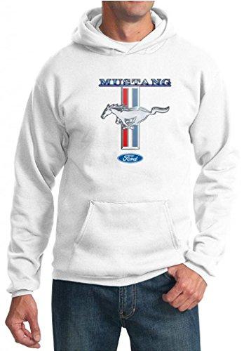 Mens Ford Hoodie Mustang Stripe White Hoodie Medium [Apparel]
