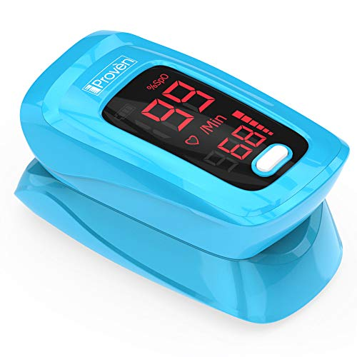- [New Version] iProvèn Pulse Oximeter Fingertip - Oxygen Saturation Monitor - with Heart Rate Detection - incl. Batteries, Case and Lanyard - iProven OXI-27 Blue