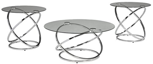 3 Piece Glass Top Table - Ashley Furniture Signature Design - Hollynyx Contemporary 3-Piece Table Set - Includes Cocktail Table & Two End Tables - Chrome Finish