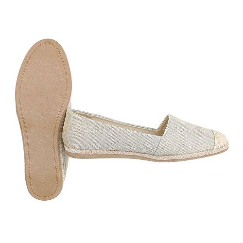 Ital-Design Slipper Damenschuhe Low-Top Blockabsatz Moderne Halbschuhe Gold 323-BL
