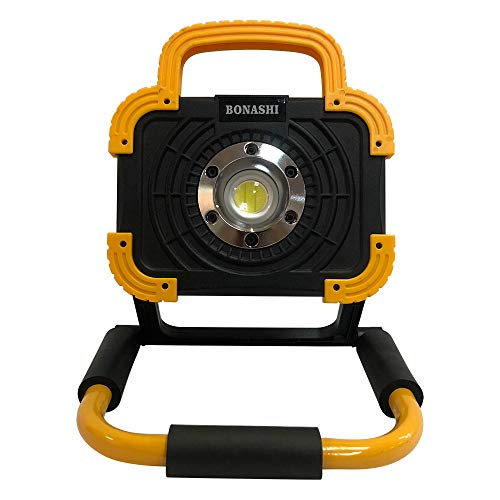 BONASHI 15W Portable LED Work Light Aluminum Body, Cordless Rechargeable Floodlight 360 Degree Rotating, Emergency Security Lights with USB Port/SOS Light, Use for Garage, Camping, Fishing