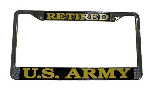 US Army Retired License Plate Frame (Chrome - Plate License Retired Army
