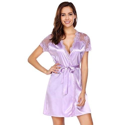 Wholesale FANEO Womens Satin Kimono Robe Lace Trim Silky Bathrobe Short Sleeve Dressing Gown Loungewear for sale