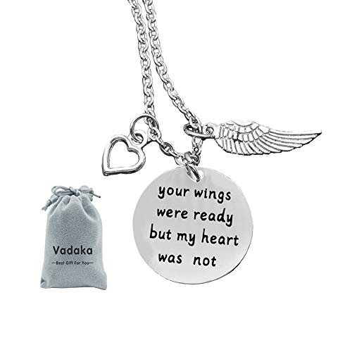 Memorial Jewelry Gift,Your Wings were Ready But My Heart was Not Necklace Memorial Gift Loss of Loved One, Wings with Heart Grief Remembrance - Mom Heart 1 Charm