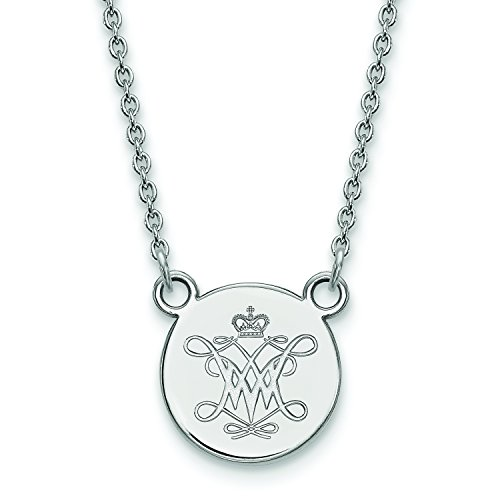 LogoArt Sterling Silver William and Mary Small Disc Pendant w/Chain