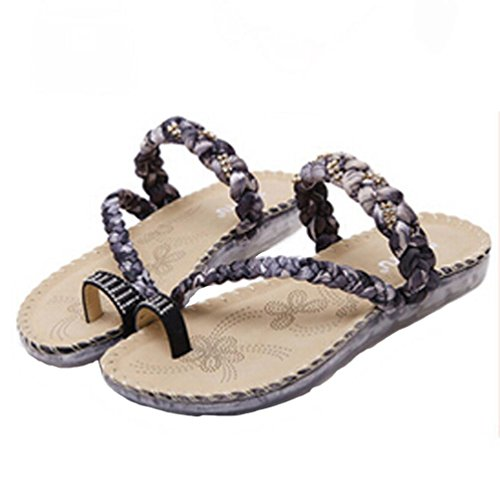 Sandalias de vestir, Ouneed ® Las mujeres señoras Bohemia sandalias cuña Clip dedo Playa Flip Flops Negro